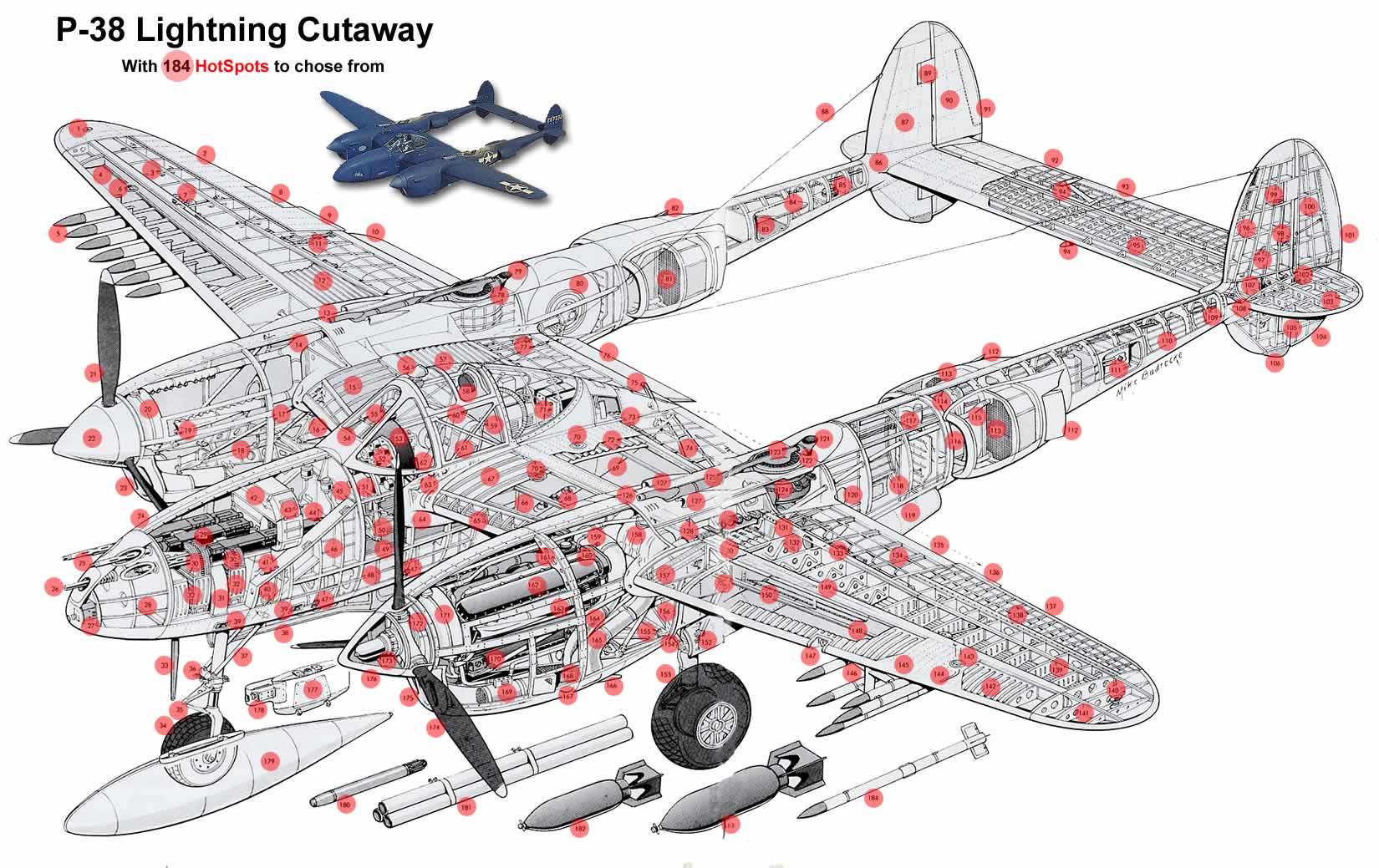 Lockheed P 38 Lightning Diagrams